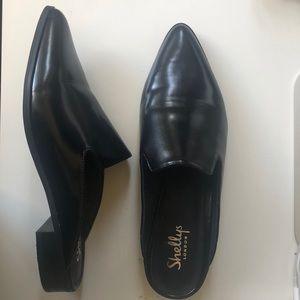 Shelly's London black patent Cantara mules NEW
